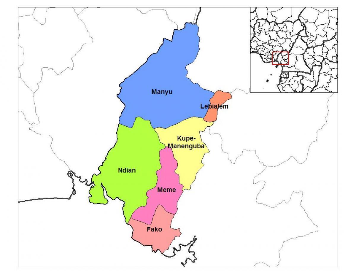 Karta Over Sodra Och Vastra Regionen Kamerun Karta Over Sodra